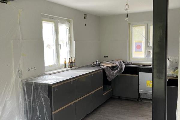 Die Küche wird gerade eingebaut