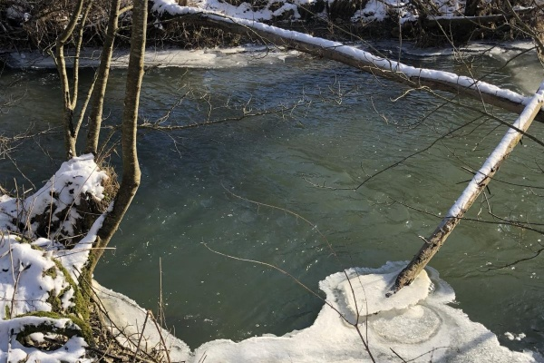 Die hier winterliche Brettach ist ein Nebenfluss der Jagst
